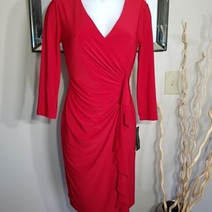 Red Ruched Side Frill  Cocktail/Career Dress 2